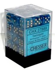 12 Teal/Gold 16mm D6 Nebula Dice Block - CHX27889