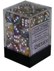 36 Carousel w/white Festive 12mm D6 Dice Block - CHX27840