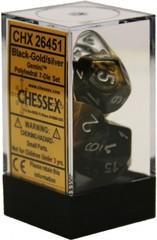 Gemini 7 Dice set (CHX26451) - Black-Gold / Silver
