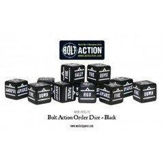 12 Black Bolt Action Order D6 Dice Set