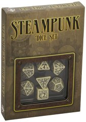 Beige and Black Steampunk 7 Die Set