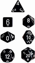 Opaque Black / White 7 Dice Set - CHX25408