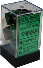 7 Black-Green w/Gold Gemini Polyhedral Dice Set - CHX26439