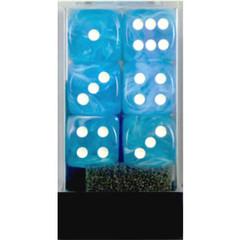 Cirrus Light Blue w/White 16mm d6 Dice Block (12)