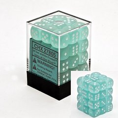 Frosted Teal w/White 12mm d6 Dice Block (36)