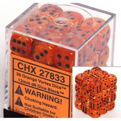 36 Orange w/black Vortex 12mm D6 Dice Block