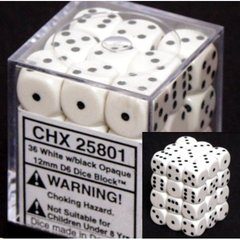 CHX 25801 White w/Black (36 Opaque 12mm Pipped d6 Dice Block)