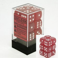 12 Red w/white Frosted 16mm D6 Dice Block - CHXLE406