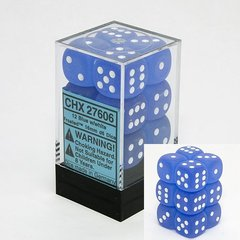 12 Blue w/white Frosted 16mm D6 Dice Block - CHX27606