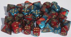 7 Red-Teal w/Gold Gemini Polyhedral Dice Set - CHX26462
