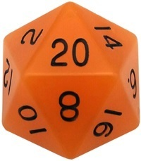 Acrylic Dice 35mm Mega D20 Glow Orange with Black Numbers