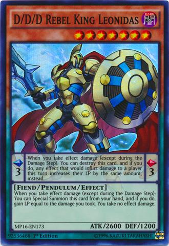 D/D/D Rebel King Leonidas - MP16-EN173 - Super Rare - 1st Edition