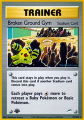 Broken Ground Gym - 92/105 - Rare - 1st Edition
