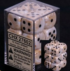 12 Ivory w/black Marble 16mm D6 Dice Block - CHX27602