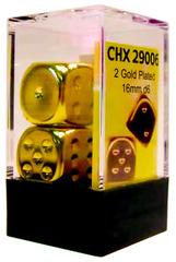 2 Gold Plated 16mm D6 Dice - CHX29006