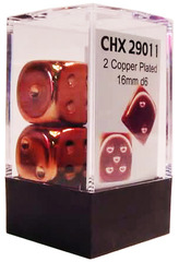 2 Copper Plated 16mm D6 Dice - CHX29011