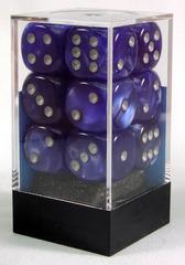 12 Blue w/silver Velvet 16mm D6 Dice Block - CHX27676