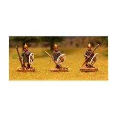 Phoenician spearmen 1. Advancing, tunic, conic helmet (Asirian), oval shield (150704-0050)