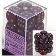 12 Purple-Red w/Gold Gemini 16mm D6 Dice Block - CHX26626