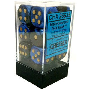 12 Gemini Black-Blue w/gold 16mm D6 - CHX26635