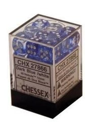 12 Dark Blue w/white 16mm D6 Nebula Dice Block - CHX27866