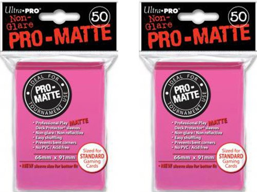 100ct Pro-Matte Bright Pink Standard Deck Protectors