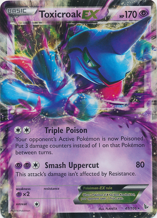Holo Rare EX NM-Mint English Pokemon Toxicroak-EX 41//106