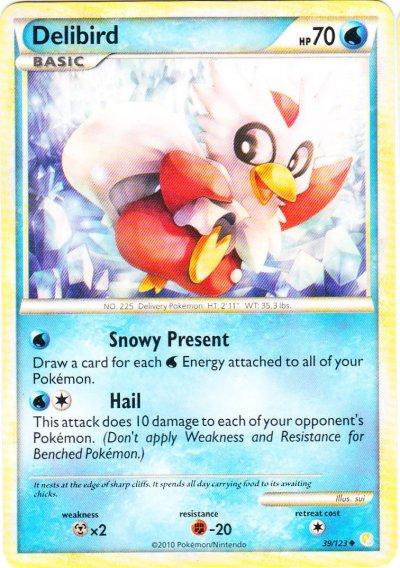 Delibird - 39/123 - Crosshatch Holo Pokemon League Snow Throw Season 2010