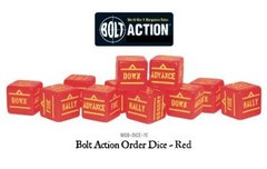 12 Red Bolt Action Order D6 Dice Set