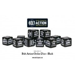 12 Black Bolt Action Order D6 Dice Set