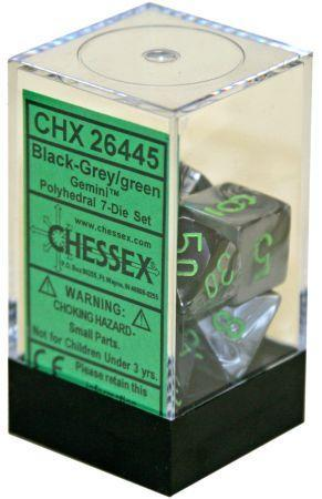 Black-Grey with Green set of 7 dice Polyhedronal - CHX26445