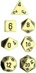 Opaque Ivory / Black 7 Dice set - CHX25400