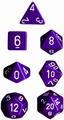 CHX25407 7pc Opaque Purple w/White Dice Set