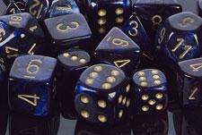 Scarab Royal Blue / Gold Polyhedral 7 Dice Set - CHX27427