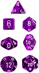 Translucent Purple / White 7 Dice Set - CHX23077
