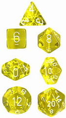 Translucent Yellow / White 7 Dice Set - CHX23002