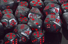 CHX27478 7pc Velvet Black w/Red Dice Set