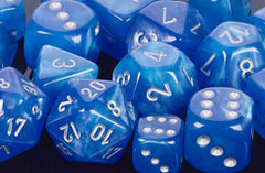 Velvet Bright Blue / Silver 7 Dice Set - CHX27479