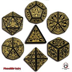 Earth Dawn Black / Yellow 7 Dice Set