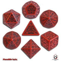 Earth Dawn Red / Black 7 Dice Set