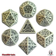 Earth Dawn Beige / Black 7 Dice Set