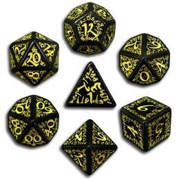 Black & Yellow Elven 7 Dice set