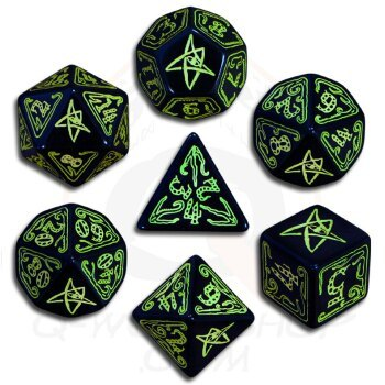 Cthulhu Black & Green 7 Dice set
