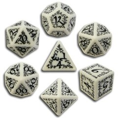 Elvish Dice Set White/Black (7)