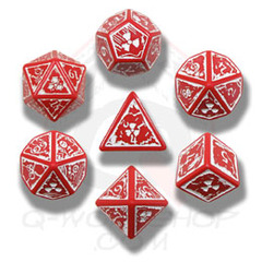 Red & White Nuke 7 Dice set