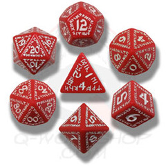 Red & White Runic 7 Dice set