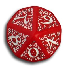 D-10 Red & White Elven 5 Dice set