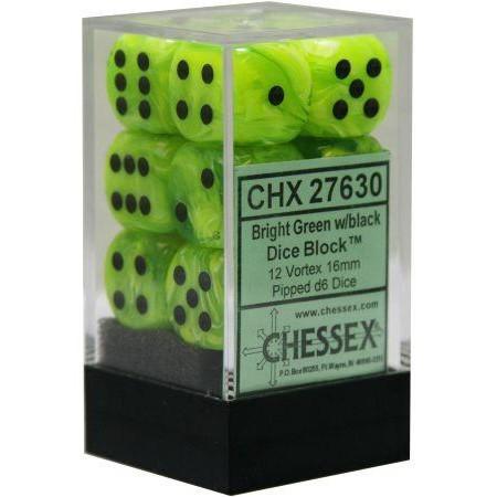 12 Bright Green w/black 16mm D6 Dice Block - CHX27630