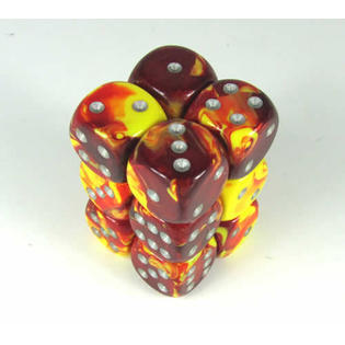 12 Red Yellow Gemini 16mm D6 Dice Block - CHX26650
