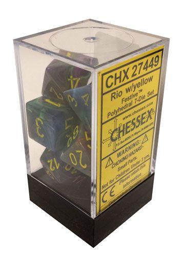 Chessex 7 ct Rio w/yellow Festive Polyhedral Dice Set - (27449)